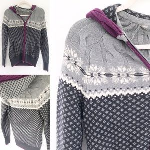 Athleta - Gray & Purple Fair Isle Print Sweater